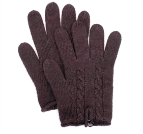 Pure Cashmere Cable Knit Gloves Dark Chocolate
