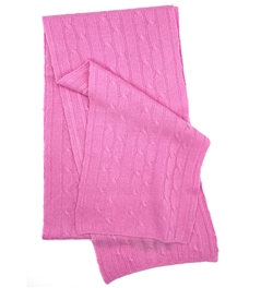 Pure Cashmere Cable Knit Scarf Pink