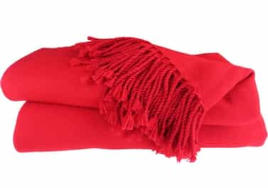 Pure Cashmere Throw Blanket Red 3 Ply