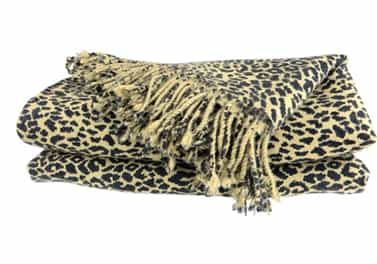 Pure Cashmere Throw Blanket Cheetah Animal Print 3 Ply
