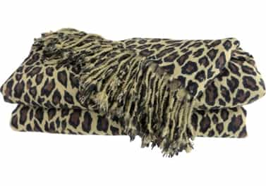 Pure Cashmere Throw Blanket Leopard Animal Print 3 Ply