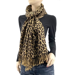 Large 3 Ply Cashmere Pashmina Leopard Animal Print Scarf 18
