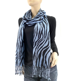 Blue Zebra Animal Print Pashmina Silk Wrap