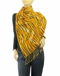 Orange Tiger Animal Print Pashmina Silk Blend Shawl