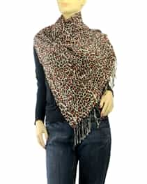 Baby Leopard Animal Print Pashmina Silk Blend Shawl